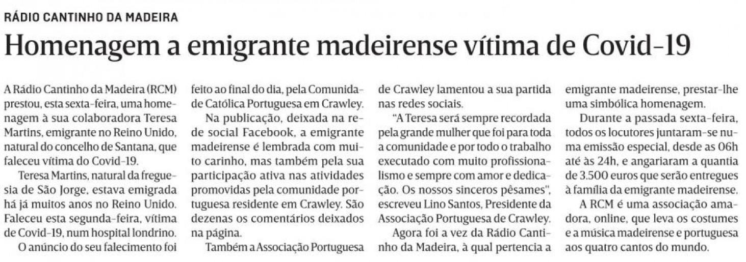 Homenagem a Teresa Martins em destaque no JM-Madeira